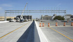 The new Interstate 59/20 in Birmingham, Ala., is shown on Thursday, Jan. 16, 2020. Officials say a new, mile-long section of highway is opening after a yearlong shutdown that forced drivers to take city streets or a perimeter highway to travel through Alabama's largest city. (Joe Songer/The Birmingham News via AP)