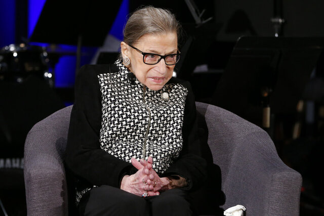Supreme Court Justice Ruth Bader Ginsburg speaks with author Jeffrey Rosen at the National Constitution Center Americas Town Hall at the National Museum of Women in the Arts, Tuesday, Dec. 17, 2019 in Washington. (AP Photo/Steve Helber)