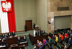 Poland's left-wing lawmakers dressed in rainbow colors to show support for the LGBT community during the ceremony of swearing in of President Andrzej Duda for a second term , in Warsaw, Poland, on Thursday, August 6, 2020. During his campaign Duda made statements hostile to LGBT community. Many of Poland's former leaders abstained from the ceremony to show disapproval for his first term policies.(AP Photo/Czarek Sokolowski)
