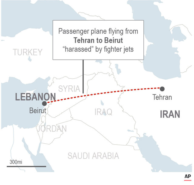 Map shows the path between Tehran and Beirut where a fighter jet was accused of harassing a passenger plane; 2c x 3 inches; 96.3 mm x 76 mm;