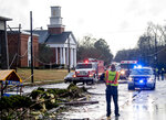 The damaged First Baptist Church is seen after a heavy storm in Wetumpka, Ala., on Saturday, Jan. 19, 2019. The mayor of Wetumpka in central Alabama says a possible tornado has caused significant damage to the city's downtown, with several buildings on the ground after an intense storm passed through the area. (Mickey Welsh/The Montgomery Advertiser via AP)