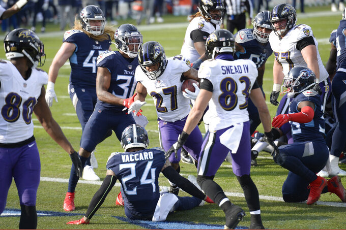Baltimore Ravens running back J.K. Dobbins (27) scores a touchdown against the Tennessee Titans in the second half of an NFL wild-card playoff football game Sunday, Jan. 10, 2021, in Nashville, Tenn. (AP Photo/Mark Zaleski)