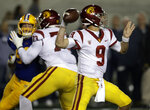 Southern California quarterback Kedon Slovis (9) passes against California in the second half of an NCAA college football game Saturday, Nov. 16, 2019, in Berkeley, Calif. (AP Photo/Ben Margot)