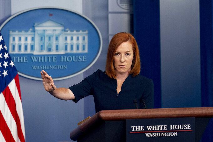 White House press secretary Jen Psaki speaks at a press briefing at the White House in Washington, Friday, July 23, 2021. (AP Photo/Andrew Harnik)