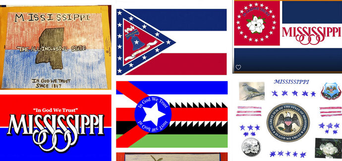 Magnolias, stars, a Gulf Coast lighthouse, a teddy bear, and even Kermit the Frog appear on some of the over 1,800 proposals submitted by the general public for a new Mississippi flag and posted Monday, Aug. 3, 2020, on the Mississippi Department of Archives and History web site. The state recently retired the last state banner with the Confederate battle emblem that's widely condemned as racist and a nine-member commission will design a replacement that cannot include the Confederate symbol and must have the phrase,