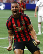 Atlanta United's Hector Villalba reacts after scoring against Toronto FC during the first half of an MLS soccer match Wednesday, May 8, 2019, in Atlanta. (AP Photo/Mike Zarrilli)