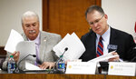Sen. Lee Anderson, left, and Sen. William Ligon, Jr., look over proposed amendments to an abortion bill on Monday, March 18, 2019, in Atlanta. A Georgia Senate committee approved a measure that would ban most abortions once a fetal heartbeat can be detected. Republicans in Georgia are joining others in many states moving to enact tough abortion restrictions, even though they're certain to be challenged in court, in hopes that recent appointments to the U.S. Supreme Court will find them constitutional. (Bob Andres/Atlanta Journal-Constitution via AP)