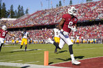 Stanford wide receiver Donald Stewart (8) scores a touchdown against California during the first half of an NCAA college football game Saturday, Nov. 23, 2019 in Stanford, Calif. (AP Photo/Tony Avelar)