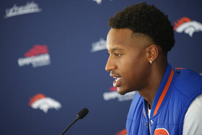 Denver Broncos wide receiver Courtland Sutton speaks during a news conference Tuesday, July 27, 2021, in Englewood, Colo., before the NFL football team's training camp. (AP Photo/David Zalubowski)