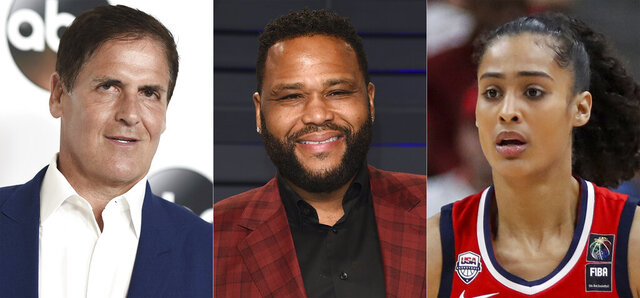 """This combination photo shows Mark Cuban, Anthony Anderson and Skylar Diggins-Smith who will take part in a series of panel discussions on YouTube that are focused on racial justice. The video-sharing platform announced the lineup on Thursday for """"Bear Witness, Take Action 2."""" (AP Photo)"""
