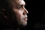FILE - In this Dec. 10, 2019, file photo, New York Mets manager Carlos Beltran listens to a question during the Major League Baseball winter meetings in San Diego. Beltran is out as manager of the Mets. The team announced the move Thursday, Jan. 16, 2020. (AP Photo/Gregory Bull, File)