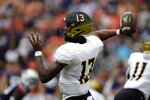 Alabama State quarterback Ryan Nettles (13) throws a pass against Auburn during the first half of an NCAA football game Saturday, Sept. 11, 2021, in Auburn, Ala. (AP Photo/Butch Dill)