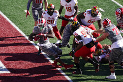 Indiana running back Stevie Scott III (8) goes in for a touchdown during the first half of an NCAA college football game against Maryland, Saturday, Nov. 28, 2020, in Bloomington, Ind. (AP Photo/Darron Cummings)