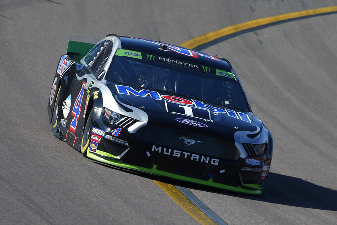 Kevin Harvick drives during the NASCAR Cup Series auto race at ISM Raceway, Sunday, Nov. 10, 2019, in Avondale, Ariz. (AP Photo/Ralph Freso)