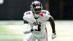 Atlanta Falcons tight end Kyle Pitts (8) works against the Philadelphia Eagles during the first half of an NFL football game, Sunday, Sept. 12, 2021, in Atlanta. (AP Photo/John Bazemore)