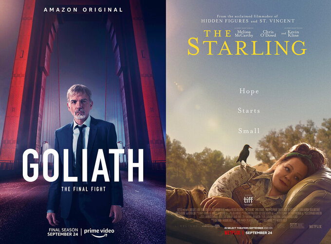 """This combination of photos shows promotional art for the series """"Goliath,"""" left, premiering its final season on Amazon Prime on Sept. 24, left, and """"The Starling,"""" a film starring Melissa McCarthy, premiering Sept. 24 on Netflix. (Amazon via AP, left, Netflix via AP)"""