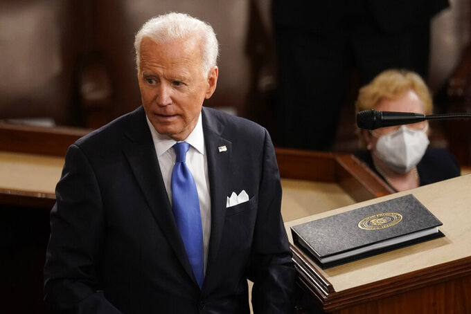 President Joe Biden turns from the podium after speaking to a joint session of Congress Wednesday, April 28, 2021, in the House Chamber at the U.S. Capitol in Washington. (AP Photo/Andrew Harnik, Pool)
