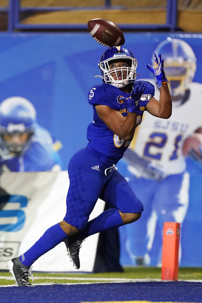 San Jose State wide receiver Isaiah Hamilton catches a pass for a touchdown against Boise State during the first half of an NCAA college football game in San Jose, Calif., Saturday, Nov. 2, 2019. (AP Photo/Tony Avelar)