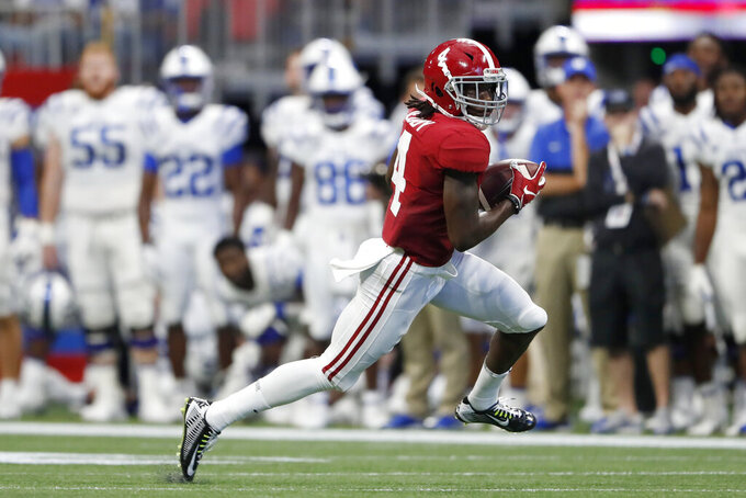 Alabama wide receiver Jerry Jeudy (4) runs after a catch in the first half of an NCAA college football game against Duke, Saturday, Aug. 31, 2019, in Atlanta. (AP Photo/John Bazemore)