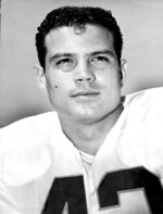 FILE - In this 1965 file photo, Kansas City Chiefs' Johnny Robinson poses. Robinson, the former LSU standout-turned-star safety during the years of the AFL-NFL merger, finally is headed to the Pro Football Hall of Fame. (AP Photo/File)