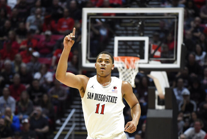 San Diego State forward Matt Mitchell (11) points skyward during the first half of an NCAA college basketball game against Colorado State Tuesday, Feb. 25, 2020, in San Diego. (AP Photo/Denis Poroy)