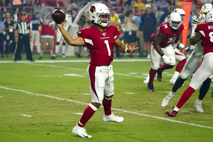 Arizona Cardinals quarterback Kyler Murray (1) unleashes a pass during an NFL preseason game against the Los Angeles Chargers on 8/8/19 in Glendale, Ariz. (Gene Lower via AP)