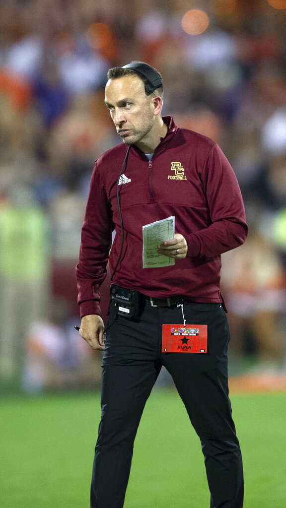 Boston College head coach Jeff Hafley walks back to the sideline after a timeout during the half of an NCAA college football game, against Clemson Saturday, Oct. 2, 2021, in Clemson, S.C. (AP Photo/Hakim Wright Sr.)