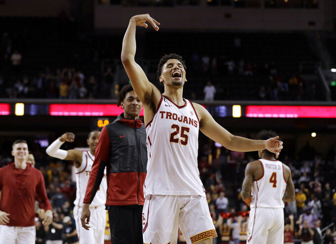 Southern California's Bennie Boatwright (25) celebrates after a win over Arizona State in an NCAA college basketball game Saturday, Jan. 26, 2019, in Los Angeles. (AP Photo/Marcio Jose Sanchez)