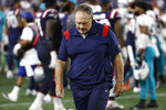 New England Patriots head coach Bill Belichick walks off the field after a 17-16 loss to the Miami Dolphins after an NFL football game, Sunday, Sept. 12, 2021, in Foxborough, Mass. (AP Photo/Winslow Townson)