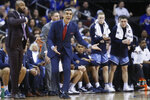 Villanova head coach Jay Wright reacts during the first half of an NCAA college basketball game against Seton Hall, Wednesday, March 4, 2020, in Newark, N.J. (AP Photo/John Minchillo)