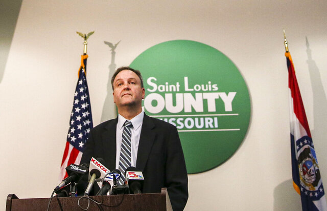 St. Louis County Executive Sam Page provides an update on local coronavirus cases during a news conference at the Office of Emergency Management in Baldwin, Mo., Monday, March 9, 2020. Page spoke Monday that county health officials used the same protocol they have used for years when working with people with communicable diseases. He said he was