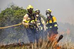 Firefighters try to extinguish a wildfire in Palma d'Ebre, near Tarragona, Spain, Thursday, June 27, 2019. Authorities suspect the cause of the outbreak was a deposit of improperly stored manure. Firefighters say that high temperatures and a drop in humidity will likely fan the flames. (AP Photo/Jordi Borras)