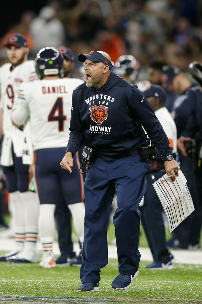 Chicago Bears head coach Matt Nagy reacts during the second half of an NFL football game against the Oakland Raiders at Tottenham Hotspur Stadium, Sunday, Oct. 6, 2019, in London. (AP Photo/Tim Ireland)