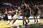 Purdue guard Jahaad Proctor (3) looks to shoot over Chicago State forward Ke'Sean Davis (4) during the second half of an NCAA college basketball game in West Lafayette, Ind., Saturday, Nov. 16, 2019. Purdue defeated Chicago State 93-49. (AP Photo/Michael Conroy)