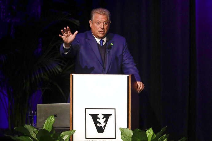 Former Vice President Al Gore speaks on climate change at Vanderbilt University as part of a worldwide event called 24 Hours of Reality: Truth in Action on Wednesday, Nov. 20, 2019, in Nashville, Tenn. (AP Photo/Mark Humphrey)