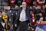 Iowa head coach Fran McCaffery motions to his players during the second half of the team's NCAA college basketball game against Indiana in Bloomington, Ind., Thursday, Feb. 7, 2019. Iowa won 77-72. (AP Photo/AJ Mast)