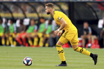 Columbus Crew's Josh Williams moves the ball during the first half of an MLS soccer match against the Montreal Impact, Saturday, July 20, 2019, in Columbus, Ohio. (AP Photo/Aaron Doster)