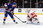 New York Islanders' Brock Nelson (29) shoots the puck past Detroit Red Wings' goal tender Calvin Pickard (31) during the second period of an NHL hockey game Tuesday, Jan. 14, 2020, in Uniondale, N.Y. (AP Photo/Frank Franklin II)
