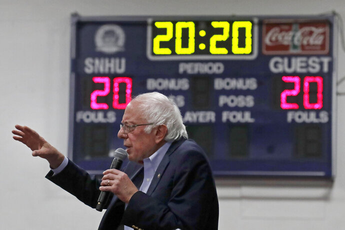 FILE- In this Dec. 13, 2019, file photo, Democratic presidential candidate Sen. Bernie Sanders, I-Vt., speaks at a campaign event in Manchester, N.H. (AP Photo/Elise Amendola)