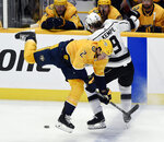 Nashville Predators defenseman Anthony Bitetto (2) collides with Los Angeles Kings center Adrian Kempe (9), of Sweden, during the first period of an NHL hockey game Saturday, Nov. 17, 2018, in Nashville, Tenn. (AP Photo/Mark Zaleski)