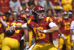 FILE - In this Sept. 1, 2018, file photo, Southern California quarterback J.T. Daniels passes during the first half of an NCAA college football game against UNLV in Los Angeles. USC takes on UCLA on Saturday. (AP Photo/Mark J. Terrill, File)