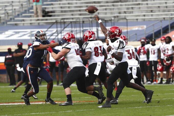 Louisville quarterback Malik Cunningham (3) throws the ball during an NCAA college football game against Virginia Saturday, Nov. 14, 2020, in Charlottesville, Va. (Erin Edgerton/The Daily Progress via AP)