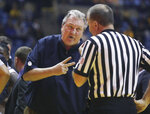 West Virginia head coach Bob Huggins yells at a referee during the second half of an NCAA college basketball game against TCU Tuesday, Feb. 26, 2019, in Morgantown, W.Va. (AP Photo/Raymond Thompson)