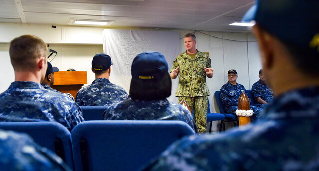 In this photo released by the U.S. Navy, Vice Adm. Sam Paparo speaks to sailors about the amphibious assault ship USS Iwo Jima off Mayport, Florida, Sept. 20, 2017. Paparo, now the top U.S. Navy official in the Mideast, said Sunday, Dec. 6, 2020, that America has reached an