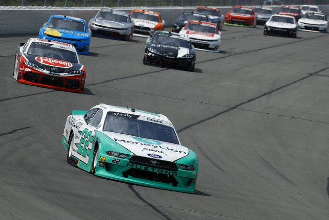 Austin Cindric in action during the NASCAR Xfinity Series auto race at Pocono Raceway, Saturday, June 1, 2019, in Long Pond, Pa. (AP Photo/Matt Slocum)