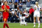U.S. forward Carli Lloyd (10) celebrates her goal against Belgium during the first half of an international friendly soccer match Sunday, April 7, 2019, in Los Angeles. (AP Photo/Ringo H.W. Chiu)