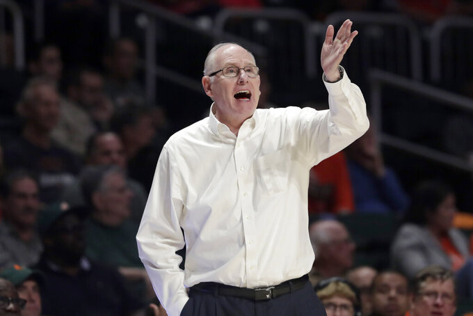 Miami head coach Jim Larranaga watches during the second half of an NCAA college basketball game against North Carolina State, Wednesday, Feb. 5, 2020, in Coral Gables, Fla. North Carolina State won 83-72. (AP Photo/Lynne Sladky)