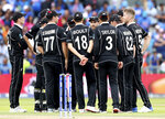 New Zealand players celebrate their win over India in the Cricket World Cup semi-final match at Old Trafford in Manchester, England, Wednesday, July 10, 2019. (AP Photo/Aijaz Rahi)
