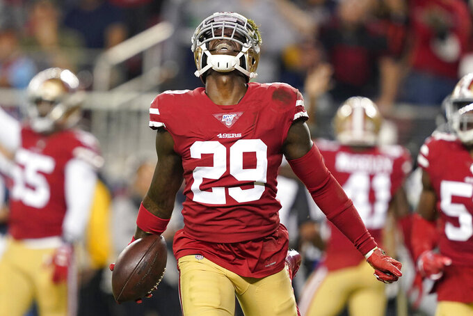 San Francisco 49ers strong safety Jaquiski Tartt (29) celebrates after recovering a fumble by Seattle Seahawks wide receiver D.K. Metcalf during the first half of an NFL football game in Santa Clara, Calif., Monday, Nov. 11, 2019. (AP Photo/Tony Avelar)