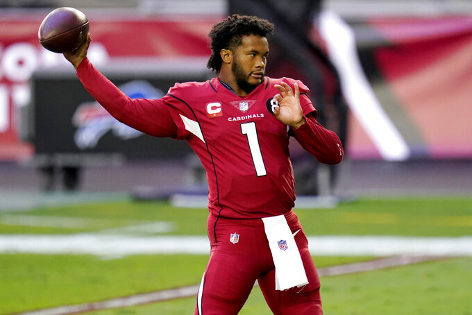 Arizona Cardinals quarterback Kyler Murray (1) warms up prior to an NFL football game against the Buffalo Bills, Sunday, Nov. 15, 2020, in Glendale, Ariz. (AP Photo/Ross D. Franklin)